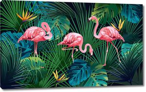 Зеленые листья с фламинго
