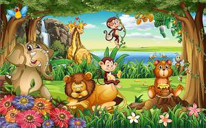 Лужайка со зверятами