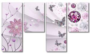 Кристаллический шар с цветами и бабочками