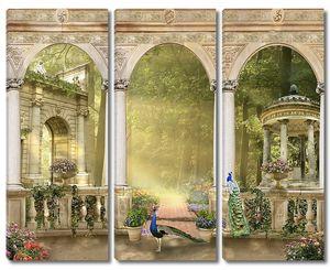 Веранда с птицами и видом на сад