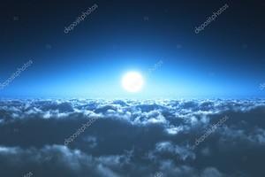 Ночной полет над облаками