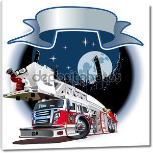 Векторный мультфильм пожарная машина