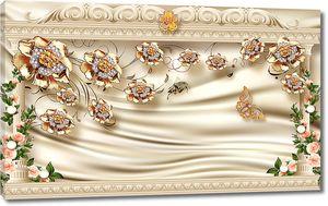 Золотые розочки на атласе