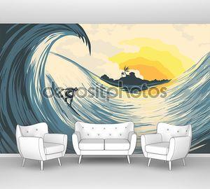 Тропический закат и волна