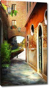 Улица с красным кирпичным домом