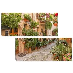 цветочная улица в городе Спелло (Умбрия, Италия)
