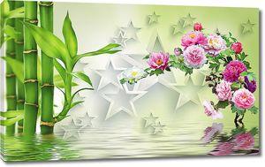 Бамбук цветы и звезды