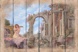 Разрушенная архитектура и девушка