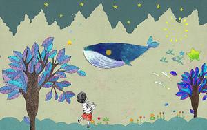 Плывущий над деревьями кит