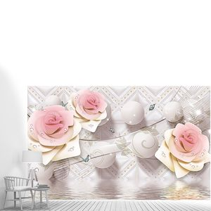 Шары и розы на фоне орнамента над водой
