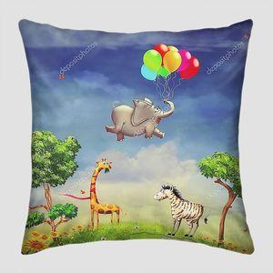 Животные и слон с шариками