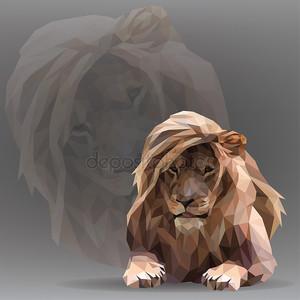 Лев в геометрический стиль