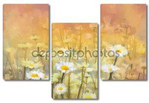 старинное поле цветов первоклассной ромашки живописи в восходе солнца
