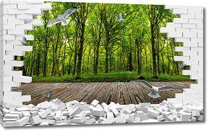 Лес в проеме стены