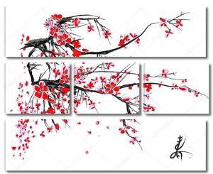 Сакура цветет на белом фоне