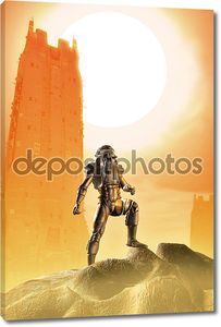 астронавт солдат на красной планете пришельцев