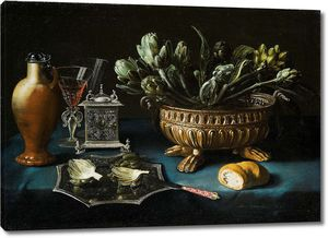 Александр Адрианссен. Натюрморт с артишоками в позолоченной серебряной фляге для вина и другими серебряными предметами