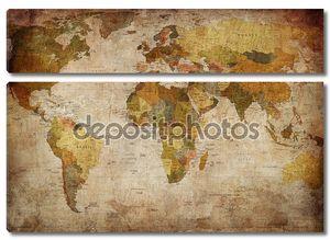 Карта мира на штукатурке