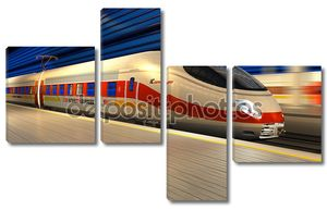 Современные высокоскоростные поезда на вокзале в ночное время
