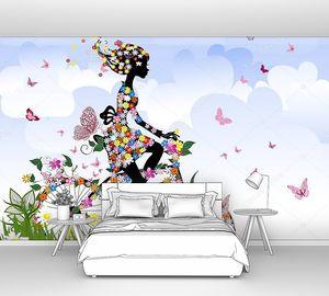 Фон с цветами и бабочками