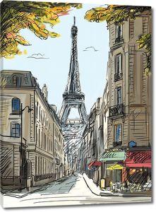Рисунок улицы Парижа и Эйфелевой башни