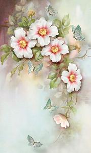 Свисающая ветка с цветами и бабочками