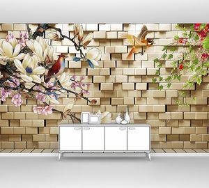 Кирпичная стена, птицы и сказочные цветы