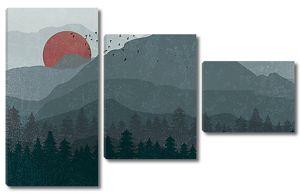Красное солнце в горах