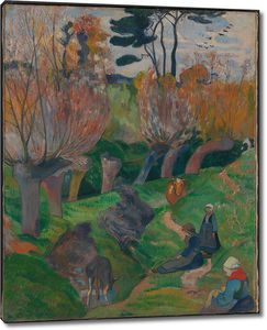 Поль Гоген. Пейзаж Бретани с коровами