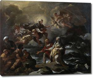 Джордано Лука. Богородица спасает св. Бригитту во время кораблекрушения