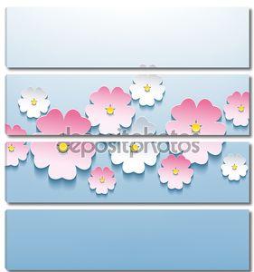 красивые цветочные синий фон с 3d цветок сакуры