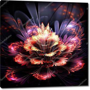 Абстрактный цветок оранжевый и фиолетовый