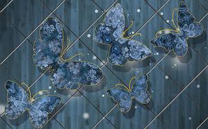 Бабочки на синем кафеле