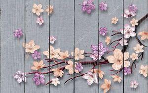 Серый фон , цветущая ветвь