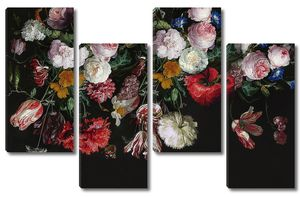 Тюльпаны, розы и полевые цветы на черном фоне