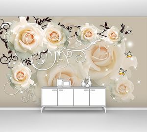 Кремовые розы с завитками