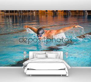 человек плавает бабочка стиль в общественный плавательный бассейн