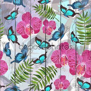 бесшовный фон с тропическими бабочками