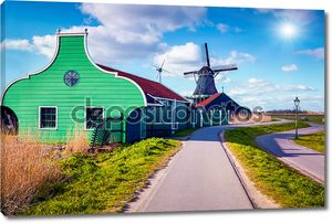 Authentic Zaandam mills in Zaanstad village.