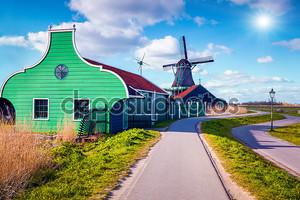 Authentic Zaandam mills in Zaanstad village.
