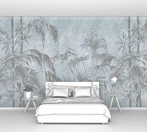 Графический рисунок тропических растений