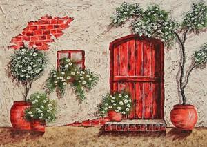 Красная дверь в деревенский дом