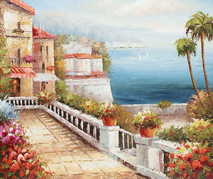 Цветочная терраса с видом на город