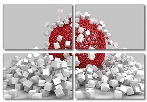 Крах белые кубики и полой сферы. 3D визуализации изображения