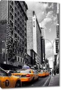 Нью-Йорк такси, автомобили черно-белый синий взгляд
