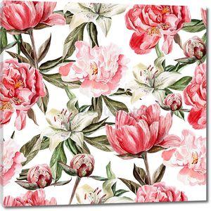 Акварель картины с цветами, пионы и лилии, почки и лепестки