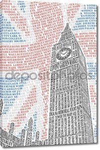 Биг Бен названий достопримечательностей Лондона. вектор