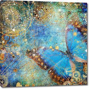 Художественные беспорядочна синий фон с бабочкой