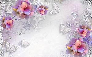 Цветы с кружевными бабочками