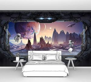 Космический пейзаж в иллюминаторе